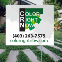 Coroplast sign in a lawn with Color Right Now logo.